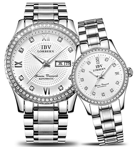 Swiss Brand Automatic Mechanical Watch Men and Women Diamond-Accented Two-Tone Couple Watches by MASTOP