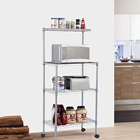 4-Tier Bakers Rack Microwave Stand Storage Rack, Adjustable Kitchen Bakers  Rack Stainless Steel Microwave Oven Stand Household Storage Cart ...