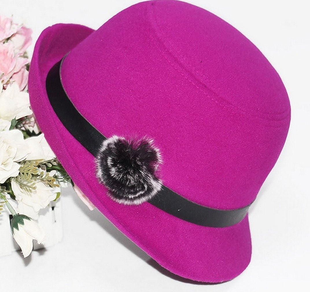 Women Wool Felt Church Cloche Cap Bucket Top Hat Bowler Hats with Pompom Band