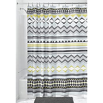 InterDesign Aztec Fabric Shower Curtain Mist Okra