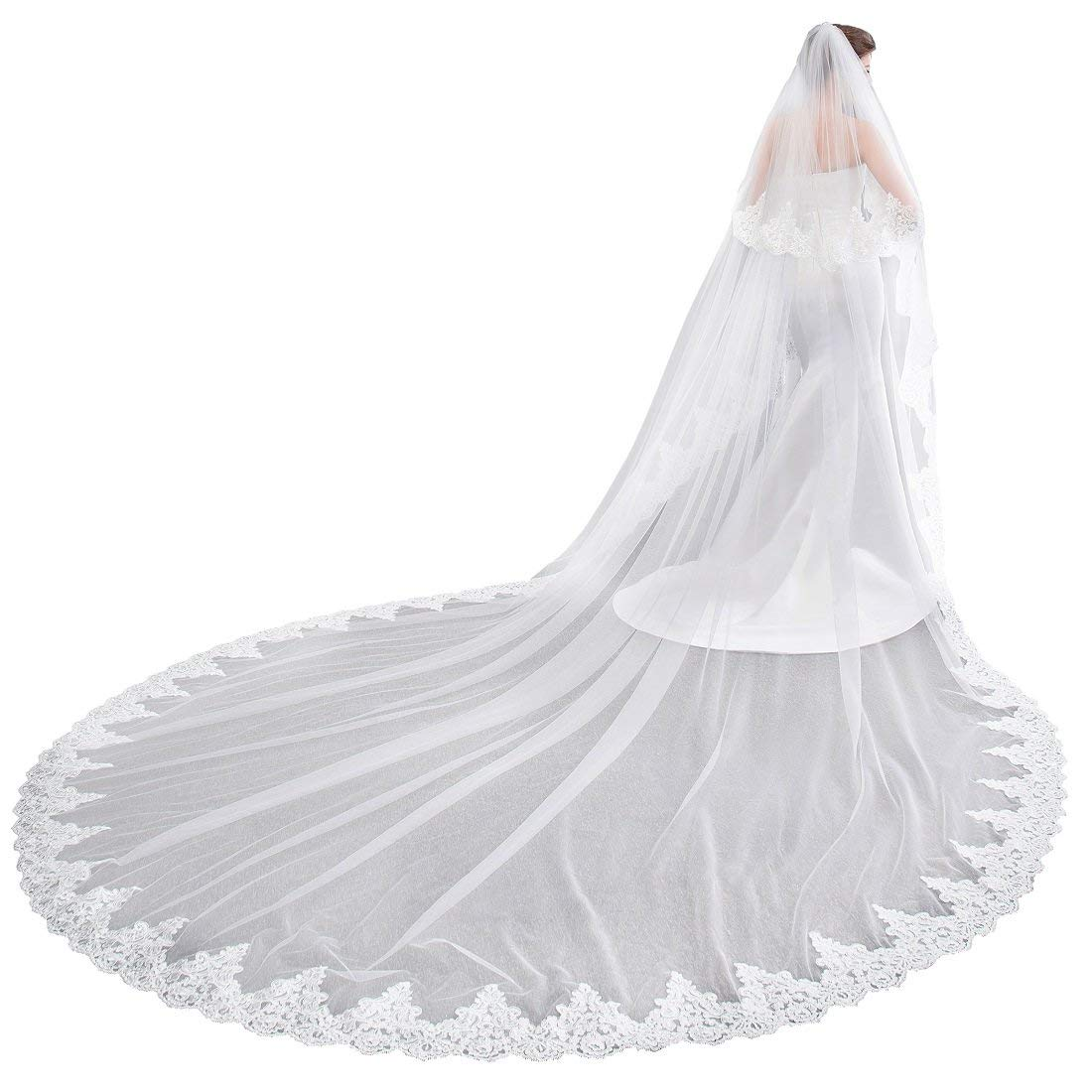 Bmwife Women's 2 Tier Cathedral Lace Wedding Bridal Veil With Comb (White) by Bmwife