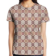 Womens Vintage Style Patterns Tangled Clover Shapes Eastern Tessellation Illustration Comfortable T Shirt