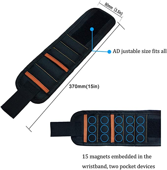 Nails Ohderii Magnetic Wristband with Strong Magnets for Holding Screws Gadgets Tools Gift for Men Him Dad DIY Handyman Electrician Husband Boyfriend Father Women Birthday Ideas Drill Bits