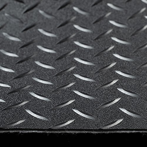RV Trailer Diamond Plate Pattern Flooring | Black | 8' 2'' Wide | Rubber Flooring | Garage Flooring | Gym Flooring | Toy Hauler Flooring | Car Show Trailer Flooring (Black, 10') by RecPro (Image #1)