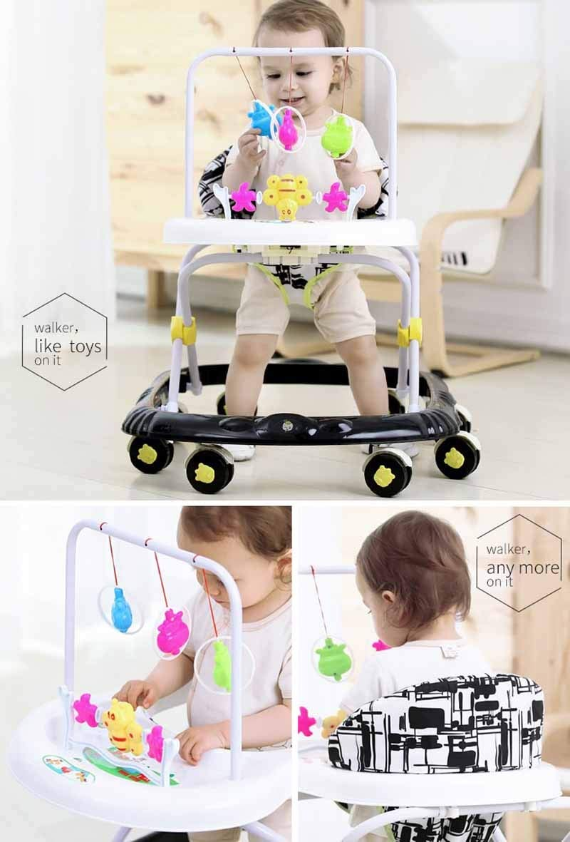 Music Toy Trolley, Baby Walker Foldable Multifunction Scooter 6/7-18 Months Rollover Prevention (Color : A)