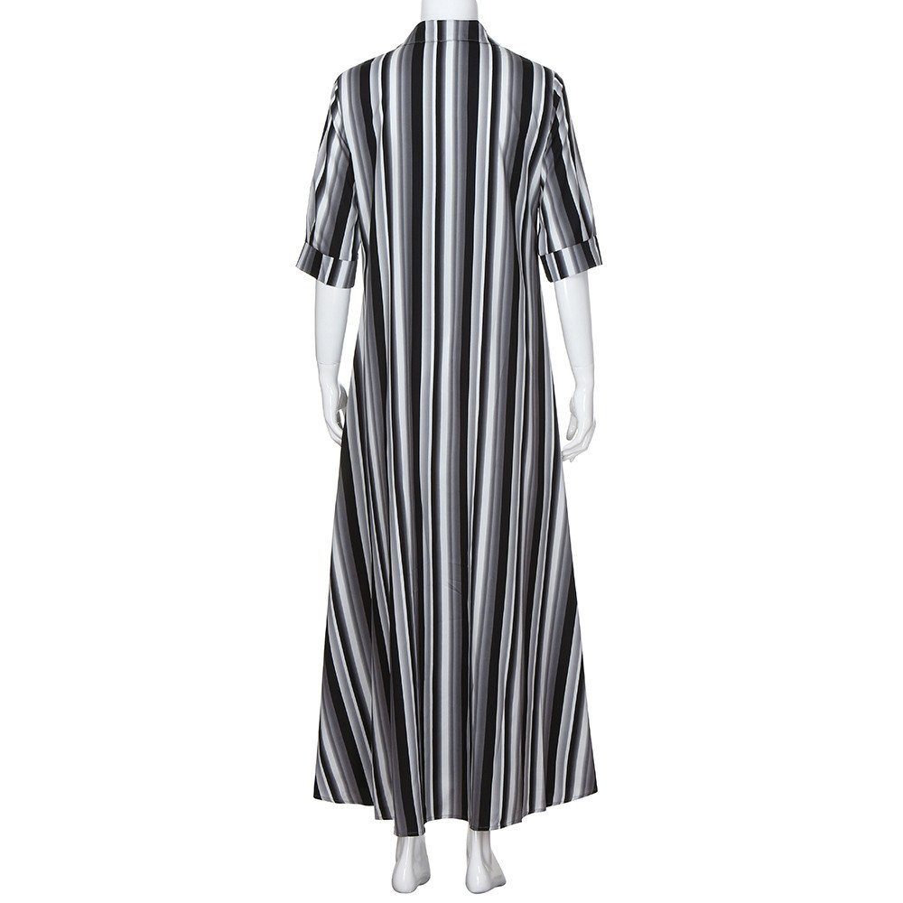 Fanyunhan Women Half Sleeve Striped Dress Multicolor Loose Button Maxi Dress Boho Beach Sundress Robe Dress Black by Fanyunhan Dress (Image #3)