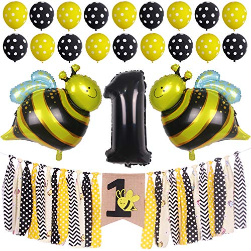 ONINIT Bumble Bee Baby Boys Girl 1st Birthday Party Decorations,Best for Baby First Birthday Party Photo Props, High Chair Banner+ Foil Balloon + Latex Balloons