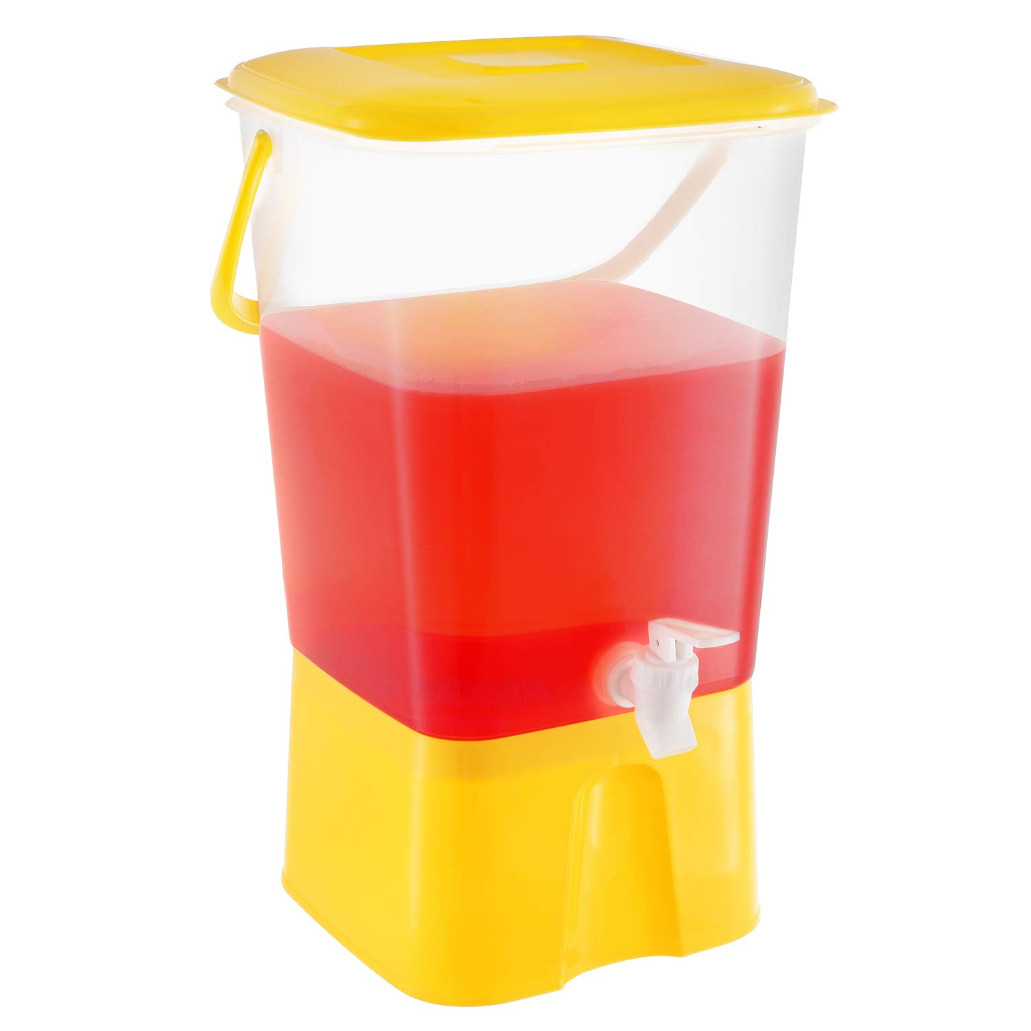 Plastic Party Beverage Dispenser with Stand & Spout, 2.11 Gallon (8L.) Cold Drink, Lemonade, Iced Tea, Juice Unbreakable Server Jar, BPA Free, Yellow