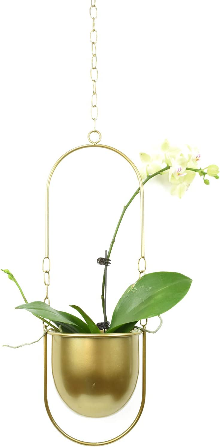 Boho Hanging Planter Metal Plant Hanger,Modern Wall & Ceiling Plant Holder Flower Pot for Indoor and Outdoor Plants Home Decor(Gold)
