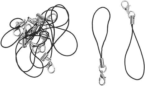 Cinturino per Cellulare 12 pezzi Pollici Collo Cordini Boeing lanyard per Chiavi e Telefono con Anello di Tono Argento con Cordino per Cordino Nero