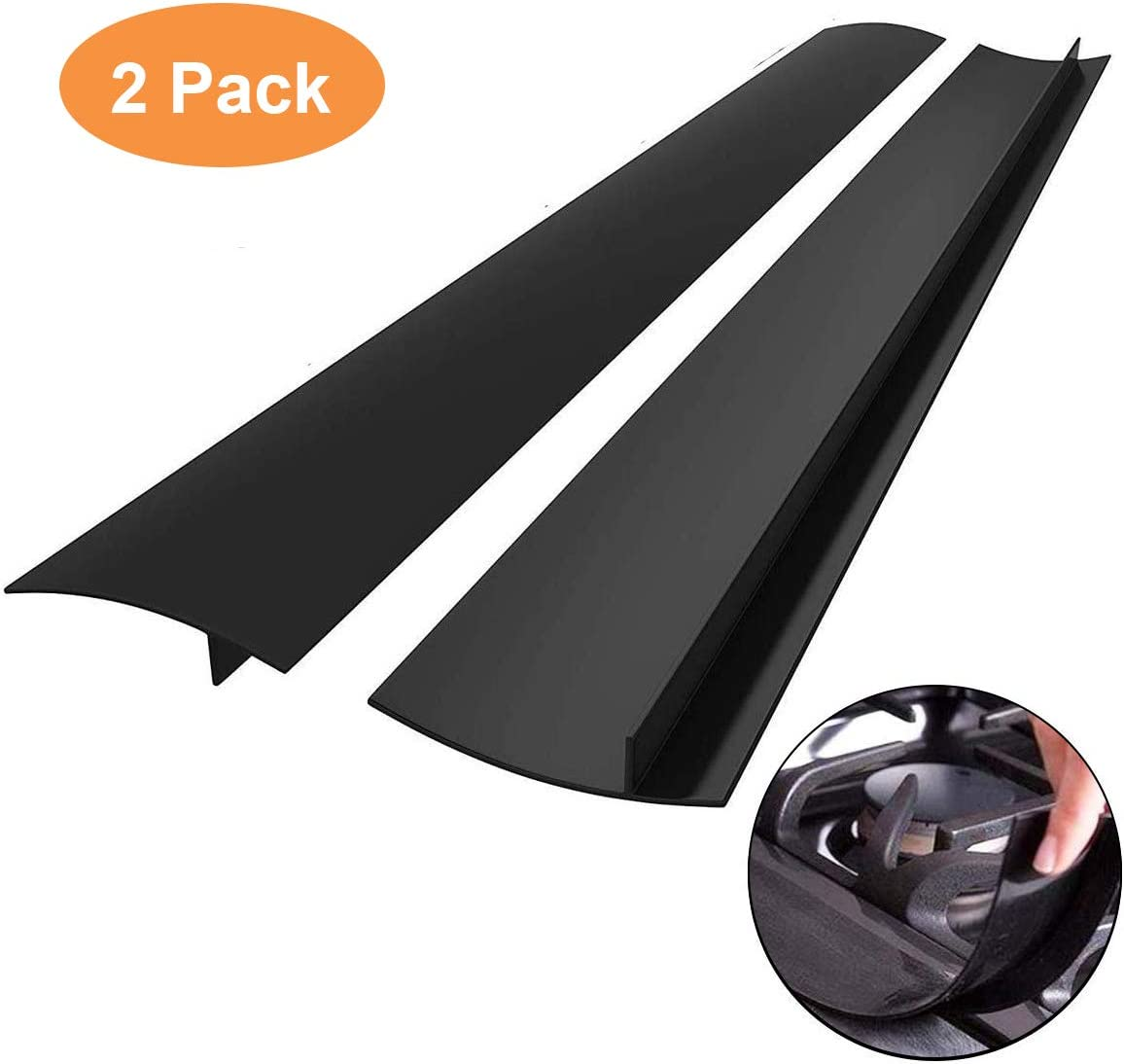 Kitchen Silicone Stove Counter Gap Cover with Heat Resistant Wide & Long Gap Filler Used for Protect Gap Filler Sealing Spills in Kitchen Counter, Stovetops(2 Pack, Black,21 Inch)