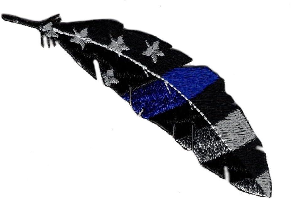 Pluma delgada línea azul Policía de bandera de Estados Unidos patrióticos hierro en parche (mtf3): Amazon.es: Juguetes y juegos