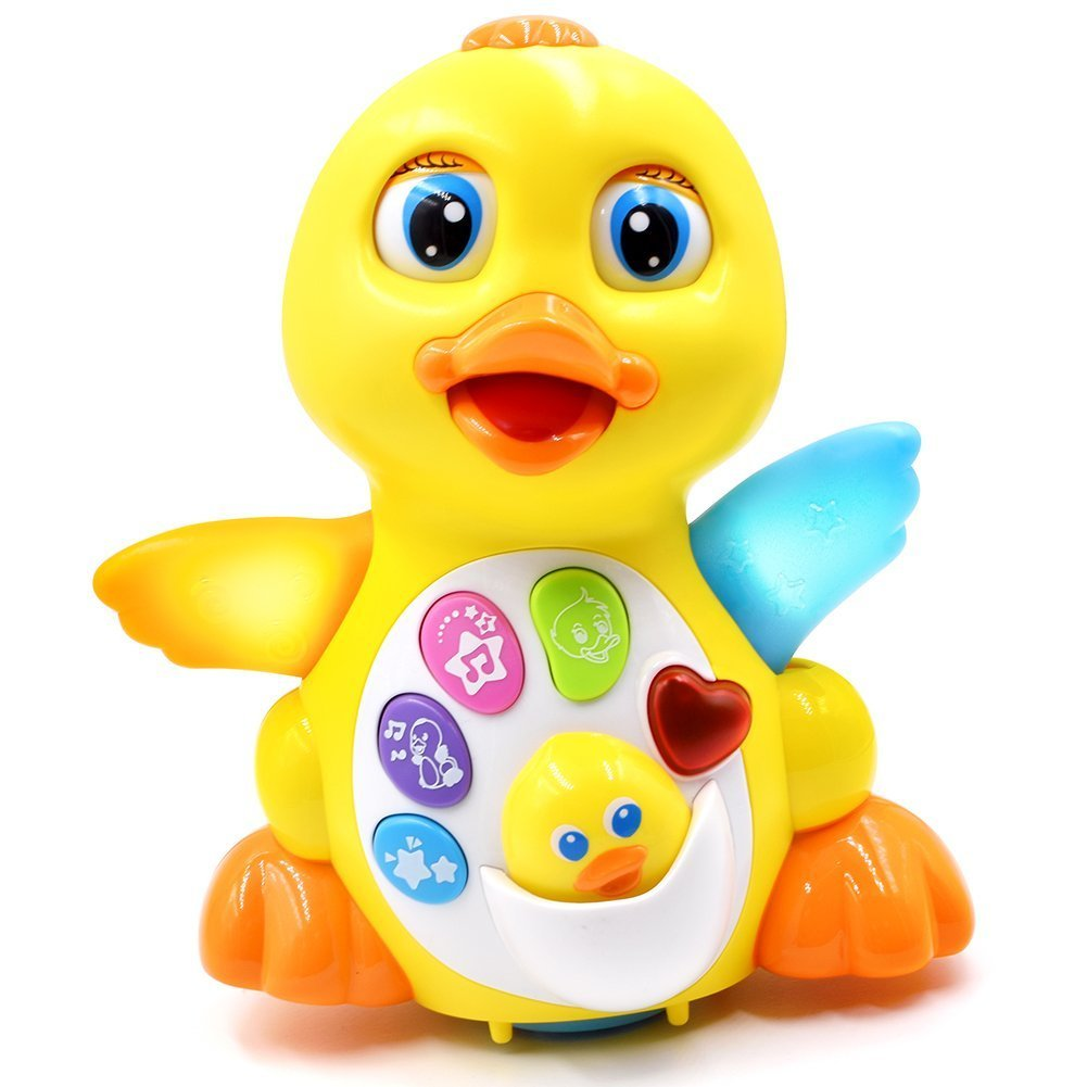 Toyk Baby Toys Musical Duck Toy Lights Action with Adjustable Sound - Toys for 1 2 3 Year Girls and Boys Kids or Toddlers