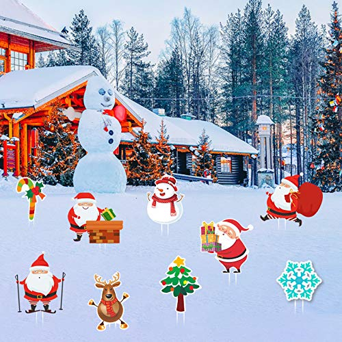 Flagicon Christmas Yard Signs, Large Size Christmas Lawn Signs with Stakes for Lawn Yard Outdoor Decorations Winter Wonderland, 9pcs