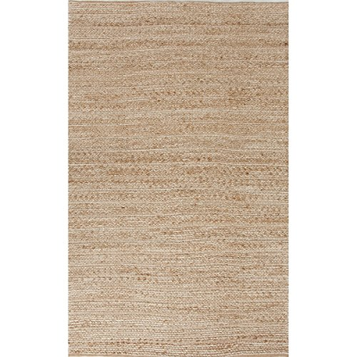 (Diva At Home 2.5' x 4' Sandy Tan and White Naturals Clifton Hand Woven Area Throw Rug )
