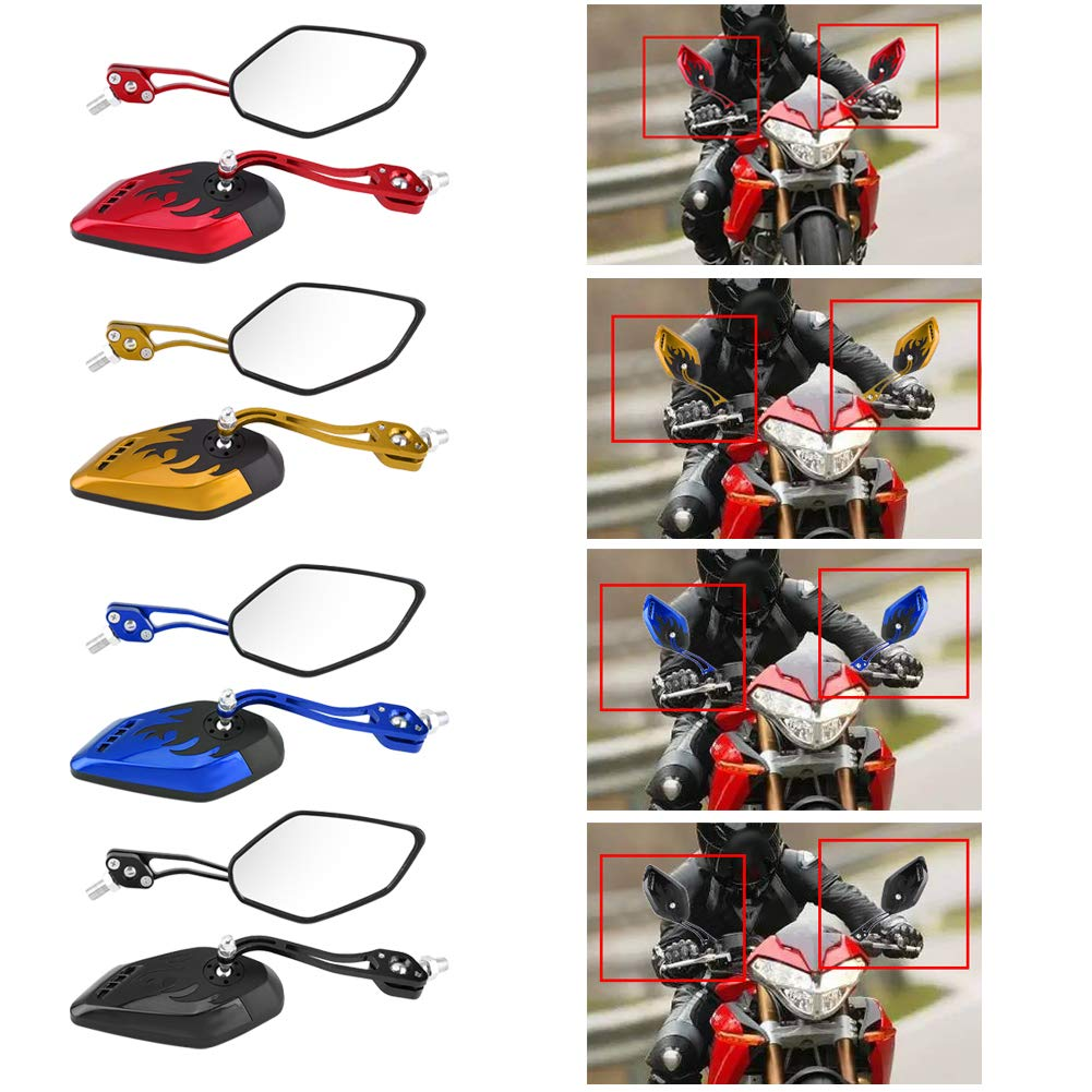 Red Motorcycle Rear View Mirrors Universal 1 Pair of 8mm 10mm Aluminum Alloy Universal Motorcycle Flame Pattern Rear View Mirrors Motorcycle Accessories