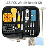 #10: HAOBAIMEI 168 PCS Watch Repair Kit Professional Spring Bar Tool Set,Watch Battery Replacement Tool Kit,Watch Band Link Pin Tool Set with Carrying Case and Instruction Manual (Black)