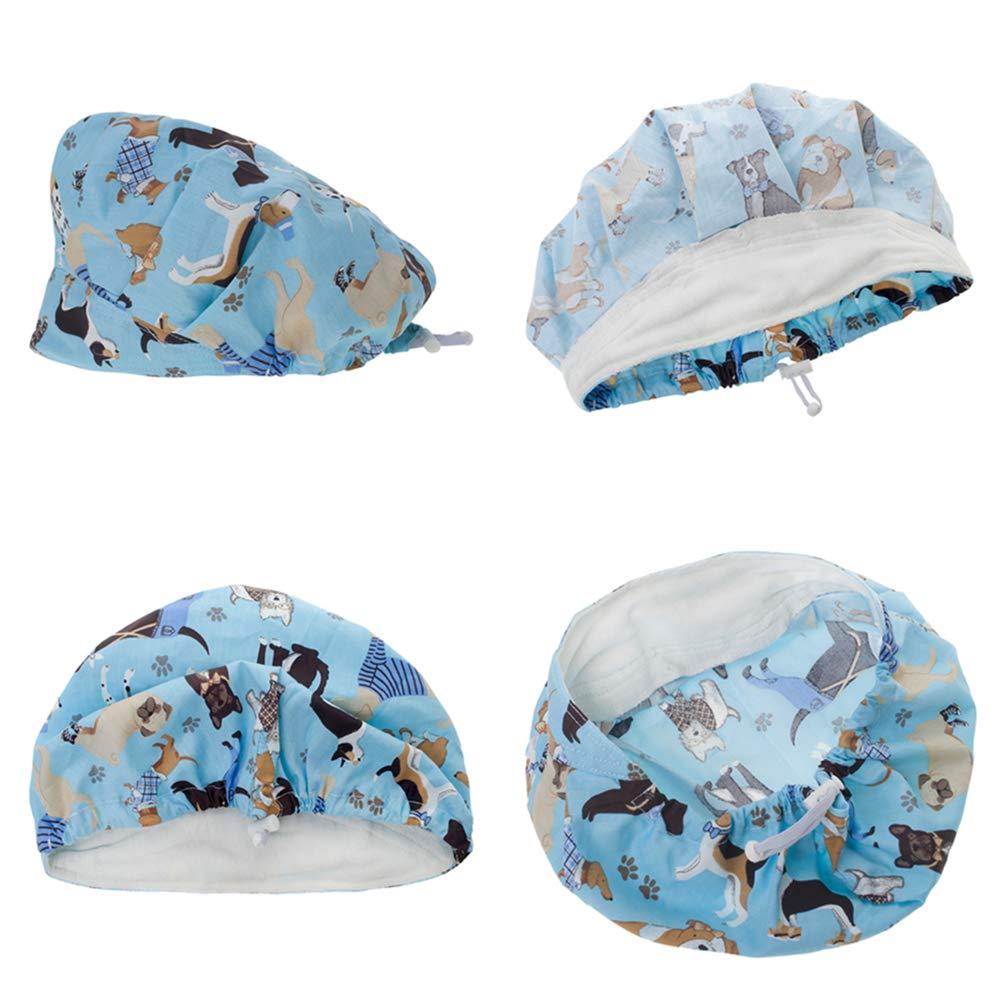 Opromo Adjustable Cotton Scrub Cap Animal Print Bouffant Hat with Sweatband