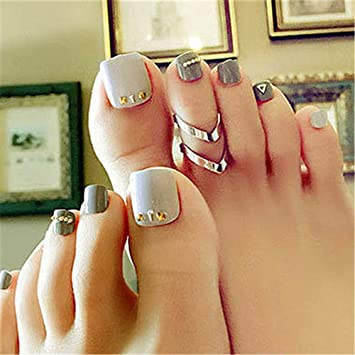 Bloomingboom 24 Pcs 12 Sizes Full Cover False Fake Nail Toes Toenail