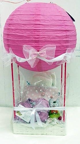 Cesta globo recién: cesta globo+ neceser+ peluche+ pijama de algodón orgánico+ pañales ecológicos