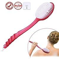 Badebürste Bad Rückenbürste Haut-Massage-Körper Dusche Stielbürste mit langem Griff (Rot)