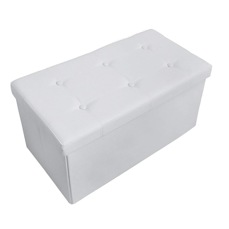 Blanco Acabado Cosido y copetudo Todeco Almacenamiento Otomano Plegable de Cuero Material: Imitaci/ón de Cuero Almacenamiento Banco 76 x 38 x 38 cm Carga m/áxima: 150 kg