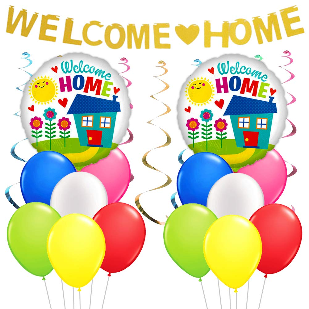 Welcome Home Decorations Welcome Home Banner Balloons Plastic Swirl for Home Decoration Family Party Supplies