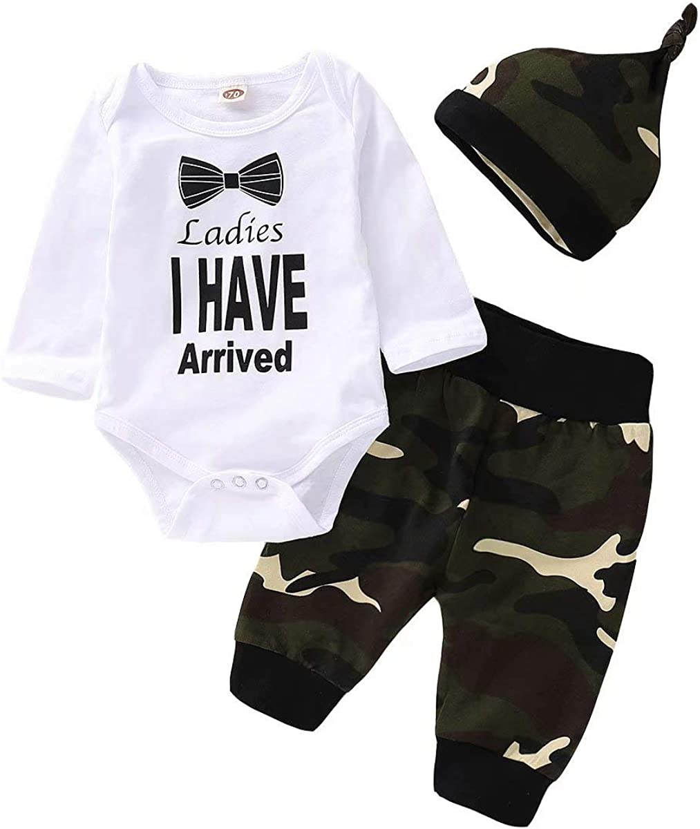 Baby Boy Girl Clothes Romper Outfits 3Pcs Newborn Infant Boy Clothing Camo