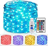 Homestarry Fairy Lights USB Plug in Outdoor String Lights with Remote 33ft 100LEDs, 16 Color Changing Lights Twinkle Firefly Lights for Bedroom Party Wedding Christmas Tapestry, 16 Col