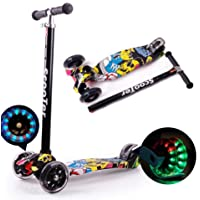 Kids Scooter 3 Wheel Mini Adjustable Kick Scooter with LED Light Up Wheels(Black Yellow)