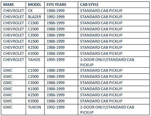 1992-1999 Yukon 2-Door 1992-1994 Blazer 1995-1999 Tahoe 2-Door 2-Piece Set for 1988-1999 Chevrolet /& GMC C//K1500-C//K3500 Standard Cab Auto Ventshade 192099 In-Channel Ventvisor Side Window Deflector