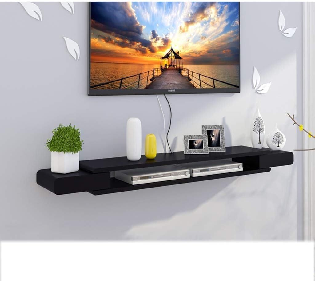 Estante Marco de pared flotante negro Mueble de TV Rack de TV Set-top Box Estante Consola de TV Unidad de ...