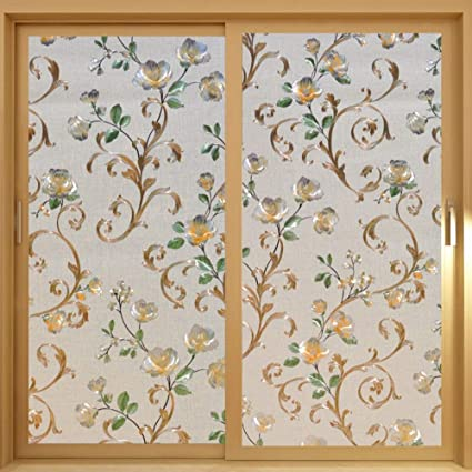 Glass Door Security Film.Soqool Flower Decorative Window Film Bathroom Front Door Glass Privacy Film Static Cling Window Film For Home Decor Office Adhesive Free Easy