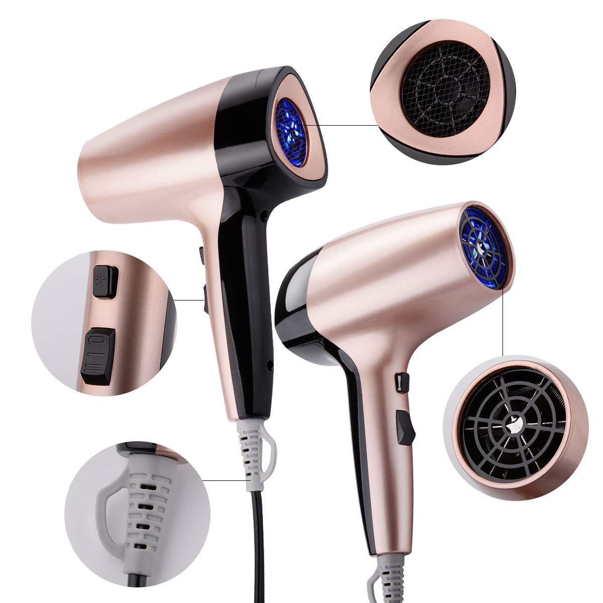 Travel Hair Dryer, Cosyonall 1600W Compact & Lightweight Portable Mini Hair Dryer, 2 Heat Setting Rose Gold Blow Dryer