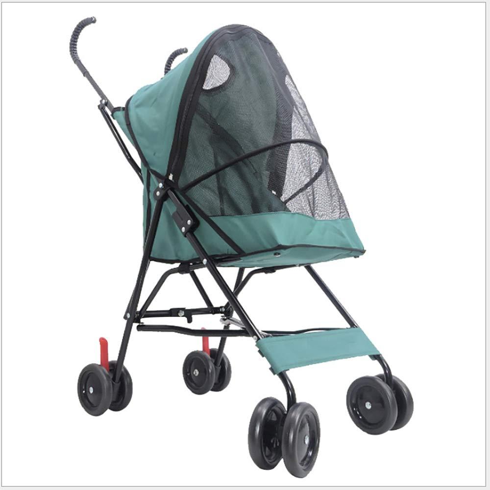 Green Jnzr Pet Stroller, Dog Stroller Foldable Cat Dog Wagon Breathable Lightweight 4 Wheel Disabled Dog Stroller Shockproof Comfort,green