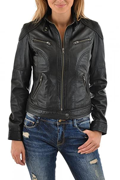 Amazon.com: Leather Scan Womens Lambskin Leather Moto ...