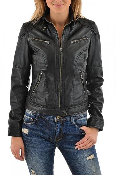 Amazon.com: Leather Scan Womens Lambskin Leather Moto ...