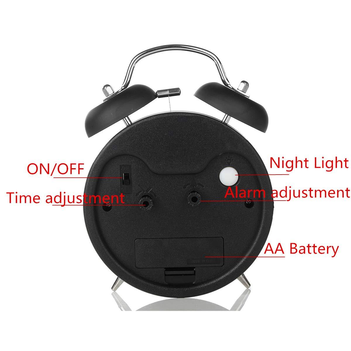 Jeteven lautlos Doppelglockenwecker 17x13x 6cm mit Nachtlicht,Analog Quarzwecker mit lautem Alarm,kein Ticken, geräuschlos (Schwarz)