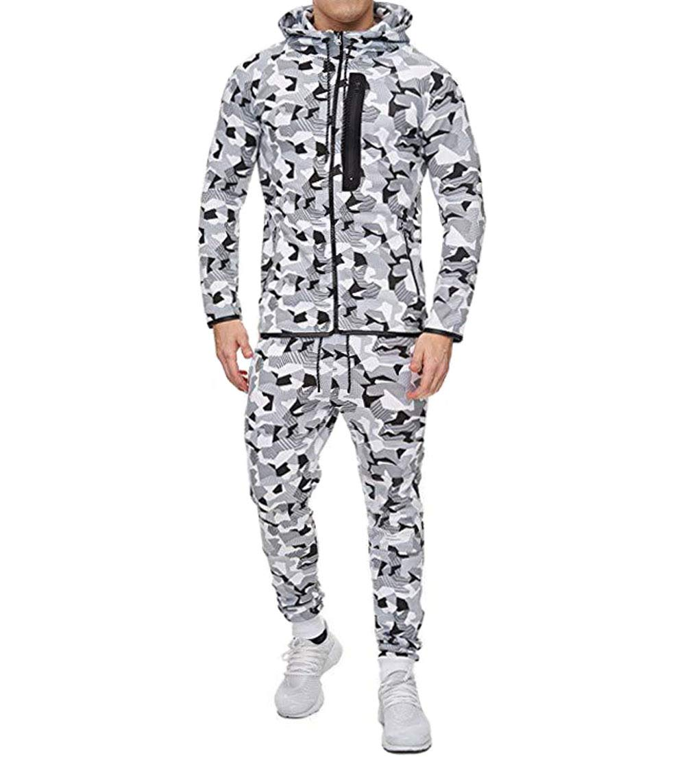 Men's Tracksuit Set Camouflage Sweatshirt Jogger Sweatpants Solid Patchwork Warm Sports Suit (Camo-White, XXXL) by lisenraIn