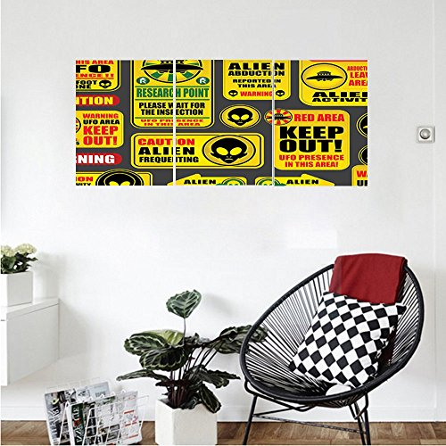Liguo88 Custom canvas Outer Space Decor Warning Ufo Signs with Alien Faces Heads Galactic Paranormal Activity Design Wall Hanging for Bedroom Living Room Yellow by Liguo88