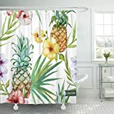 Emvency Shower Curtain Blue Luau Tropical Pattern Pineapple Hibiscus Exotic Watercolor Hawaiian Hawaii Waterproof Polyester Fabric 60 x 72 inches Set with Hooks