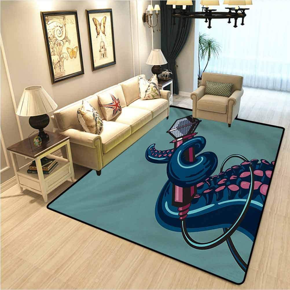 Octopus Soft Bedroom Rugs Octopus Tentacle Holding a Microphone Retro Style Cartoon Rock and Roll Artwork Soft Comfy Area Rugs for Bedroom Teal Pink W3xL5 Ft