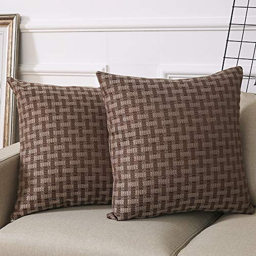 Madizz Set of 2 Mid Century Modern Woven Linen Decorative Square Throw Pillow Covers Set Cushion Cases 18x18 inch Checker Gingham Plaid Tan and Brown Cocoa