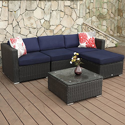 PHI VILLA Outdoor Rattan Sectional Sofa- Patio Wicker Furniture Set (5-Piece)