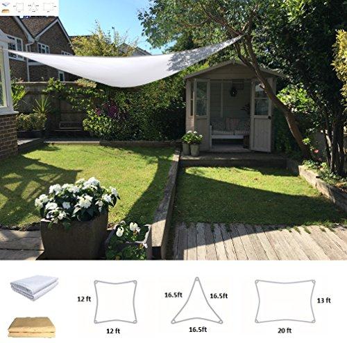 Clara Shade Sail Waterproof UV Sun Block Garden Patio Canopy Awning Outdoor Indoor Triangle 16.5'x16.5'x16.5' Pure White