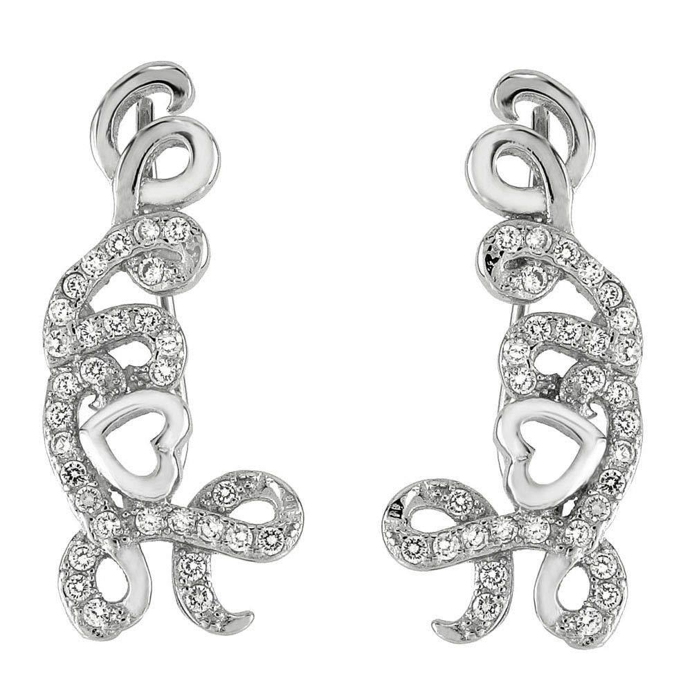 Womens 925 Sterling Silver Love CZ Ear Climbers Earrings