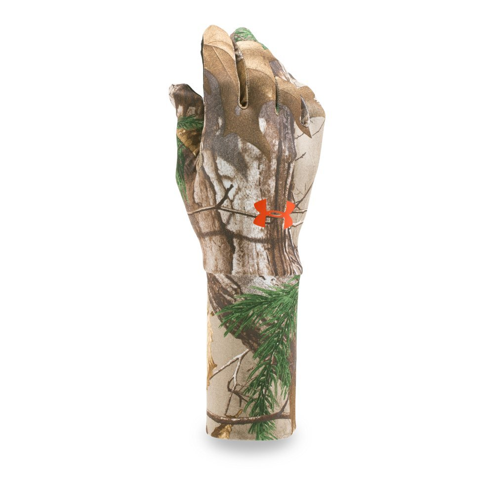 Under Armour Men's ColdGear Camo Liner Gloves, Realtree Ap-Xtra/Dynamite, Medium