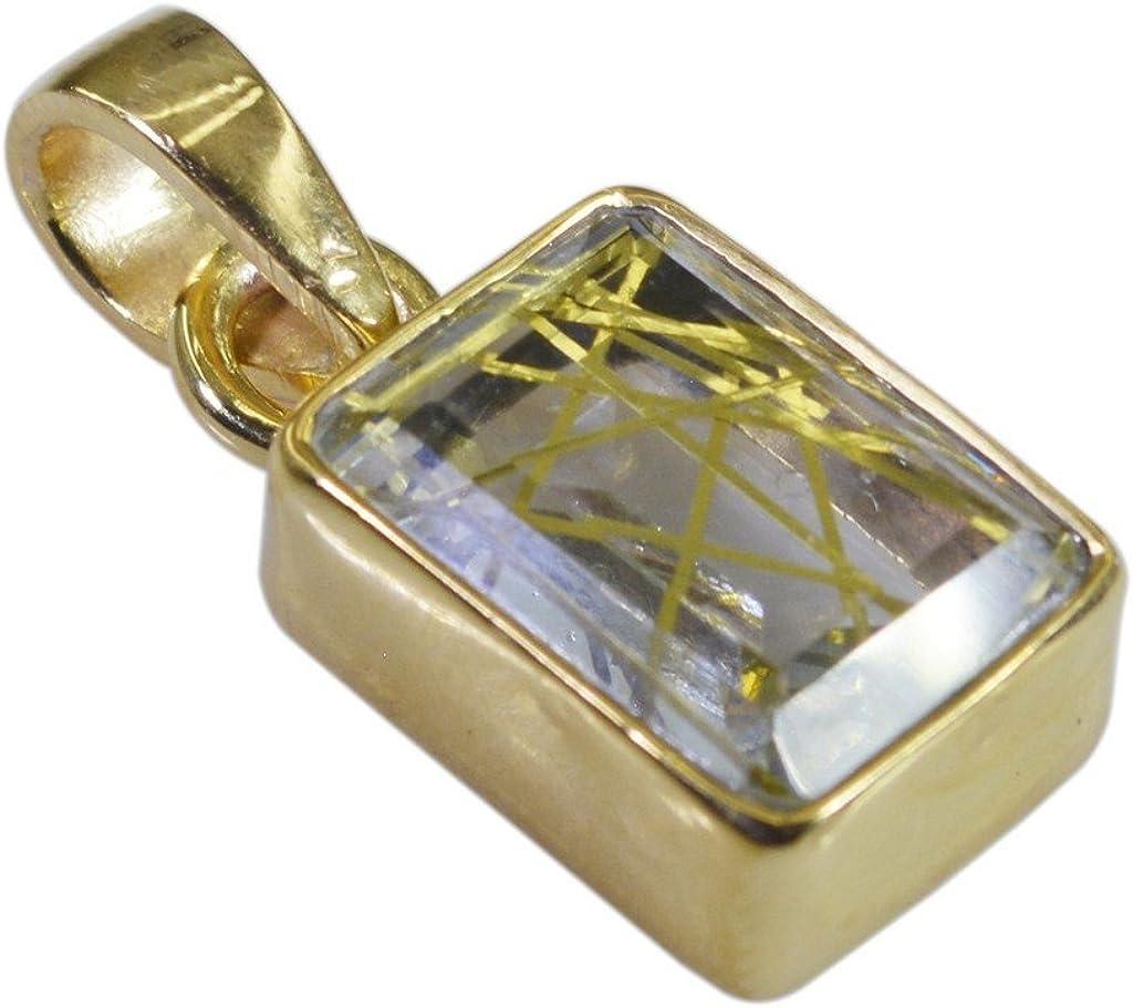 Gemsonclick Rutile - Colgante de cuarzo chapado en oro con gemas sueltas_GOCP013