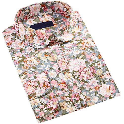 DOKKIA Women's Tops Vintage Casual Shirts Cotton Long Sleeve Work Button Up Dress Blouses (Floral Pink Olive Green, Small)