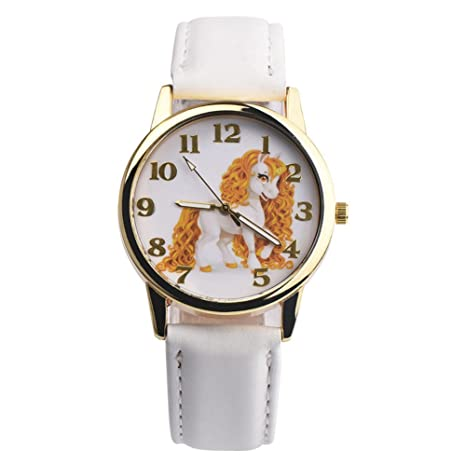 jianfeng Chica Joven Unicornio reloj analógico pantalla piel ...